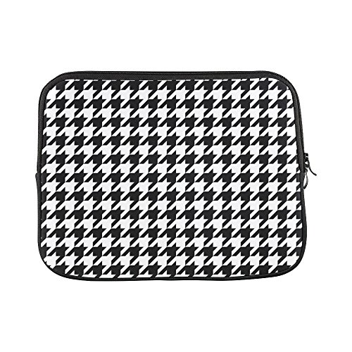 InterestPrint Classical Black and White Houndstooth Checkered Pattern Laptop Sleeve Case Waterproof Neoprene Notebook Bag 13 13.3 Inch for MacBook Pro Air HP Dell Lenovo Acer Woman Man