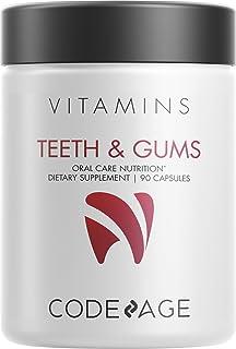 Codeage Teeth & Gums Vitamins + Oral Probiotics Supplement for Mouth - Whole Food Calcium, Collagen, Magnesium, Vitamin C, D3, K2, Zinc – Oral Care & Dental Multivitamin Supplements - 90 Capsules