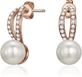 Mestige MSER3383 Women's Rose Gold Plated Natural Pearl Cultured Pearl Earrings