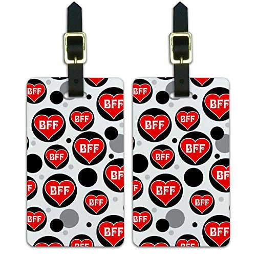 Luggage Suitcase Carry-On ID Tags Set of 2 - Sweetest Best - BFF Best Friends Forever Red Heart