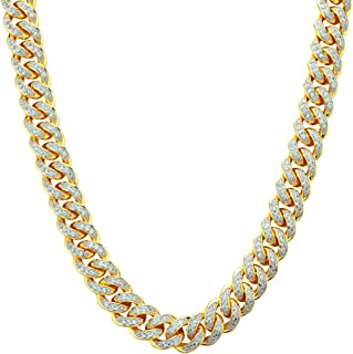 18k Gold-Plated Cubic Zirconia Cuban Link Chains (18-36 Inches)