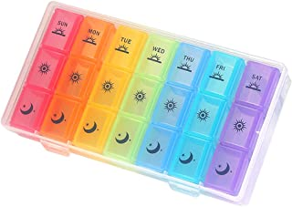 Weekly Pill Organizer,3-Times-A-Day 7 Day Pill Box Large Compartments Moisture-Proof Pill Case Medication Reminder Portable Travel Container for Vitamins Fish Oil Compartments Supplements