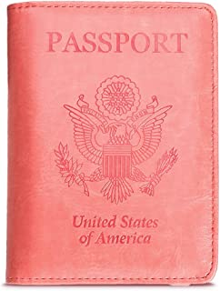 Passport Holder Case, Beikle Protective Premium Synthetic Leather RFID Blocking Wallet Case Card Case Cover Travel Accessories for Women Girls, Pink