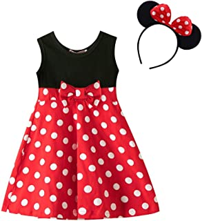 Mouse Dress Girls' Polka Dots Princess Party Cosplay Pageant Fancy Costume Tutu Dress up Cosplay Party Off Shoulder Flower Playwear Outfit Black+Red 3-4 Years