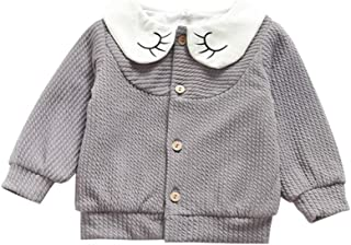 ALLAIBB Baby Girl Warm Cardigan Thick Jacket Coat Two Layers Outerwear Lapel Casual Wear