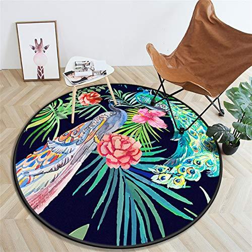Zona Alfombra 3D Moda Flor Alfombra Redondo En Relieve Rosa Alfombra Amortiguar Balcón café Mesa Redondo Zona Alfombra Decoración (Color : W, Size : 80x80cm)