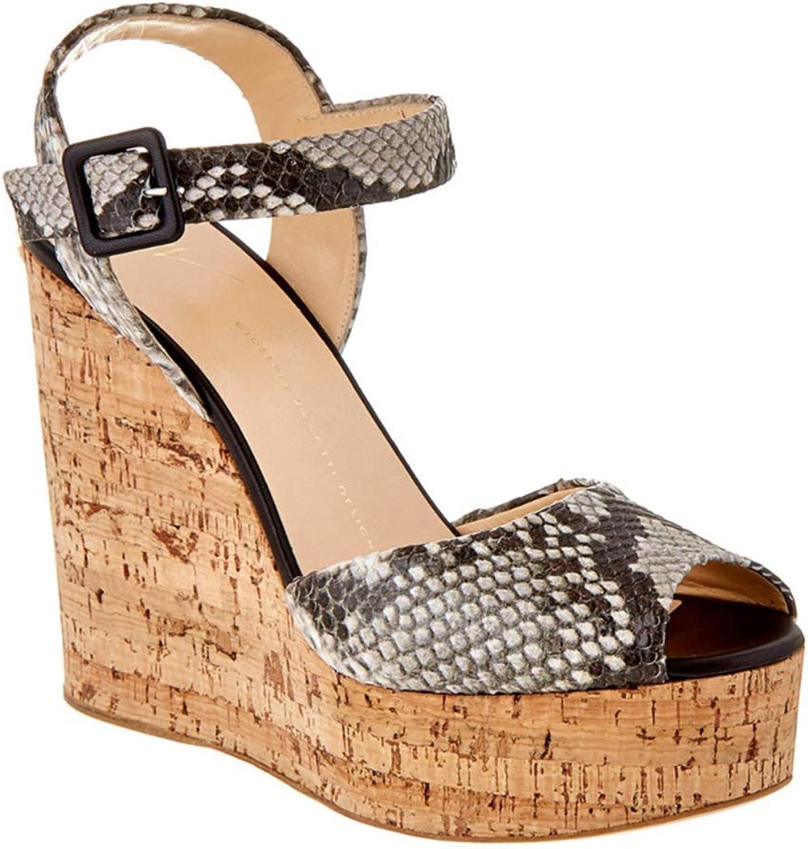 CHUABUTNDF Die Sandalen der hlzernen Kornkeilabsatzschlangensandalen hassen groe Schuhe des Himmels hohe Frauen