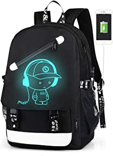 Anime Luminous Backpack for Boys, Waterproof Charging Bookbag with USB Charging Port