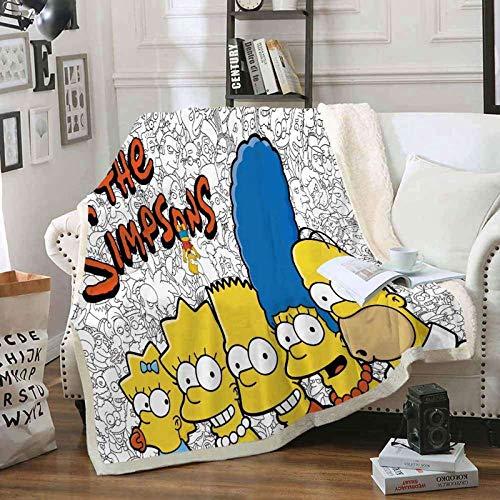 QSTT The Simpsons - Manta de franela para sofá, supersuave y cálida, microfibra impresa en 3D, para sofá cama, sala de estar o siesta (130 x 150 cm)