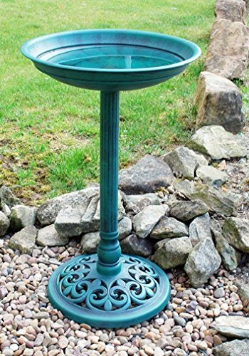New Ornamental Traditional Pedestal Bird Bath Outdoor Garden Water Weatherproof