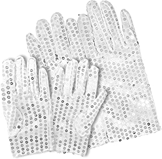 BigOtters Silver Glitter Gloves, 2 Pairs (Adult Size and Child Size) Costume Sequins Gloves Dance Gloves Ice Skating Gloves, Double Side Sequins for Parent-Child Dress up Cosplay Party Favors