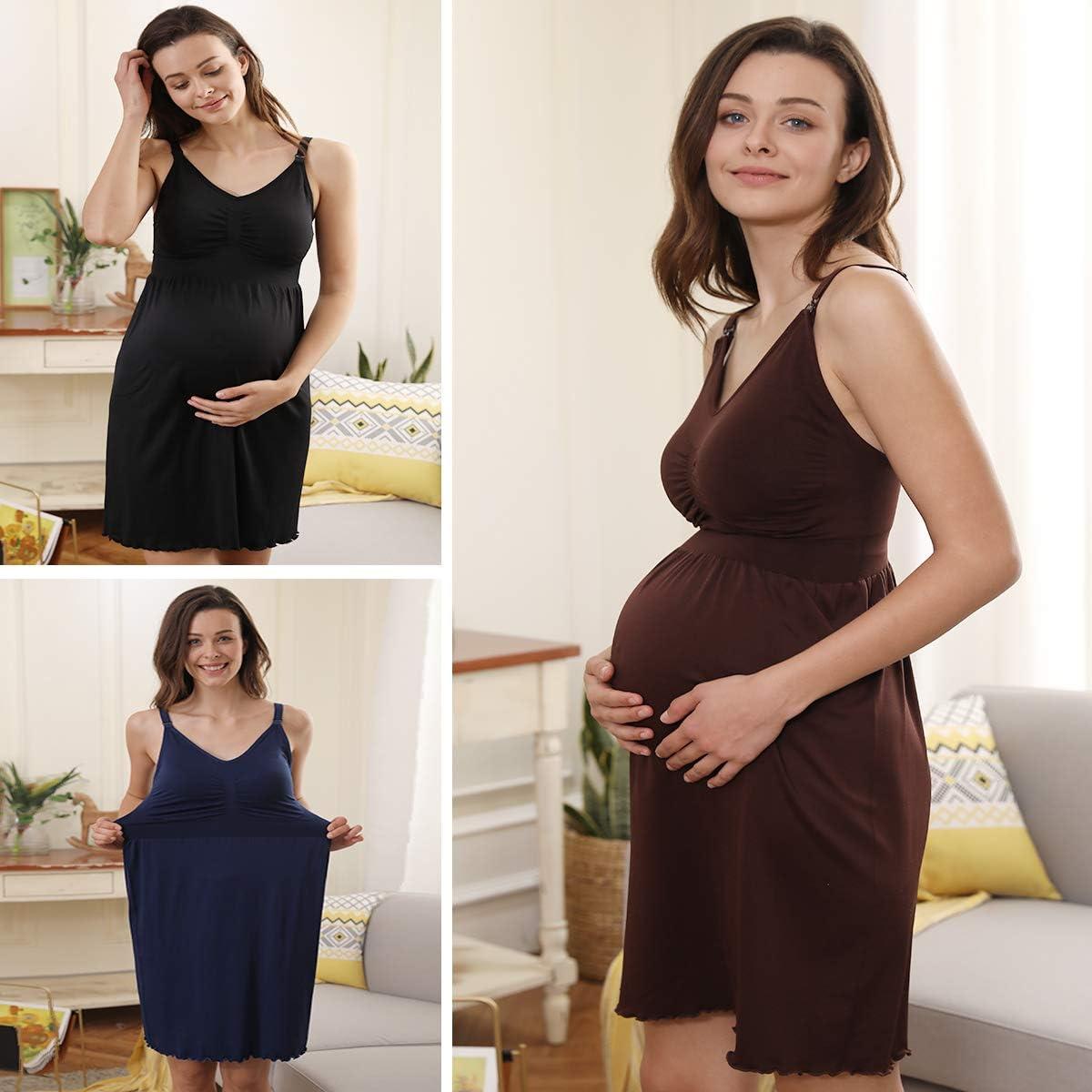 iloveSIA Women's Plus Size Maternity Nightgown Breastfeeding Sleeveless Cami Shirt Casual Nursing Dress Pack of 2
