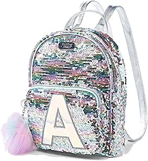 Pastel Flip Sequin Small Mini Backpack Initial (Letter O)