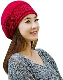 DEE Women Hats,Elegant Beanie Women's Beanie Winter Flower Simple Warm Knitted Glamorous Hat Cozy Fashion Crochet Beret Caps Outdoor Ski Windproof Cap,Red,One Size