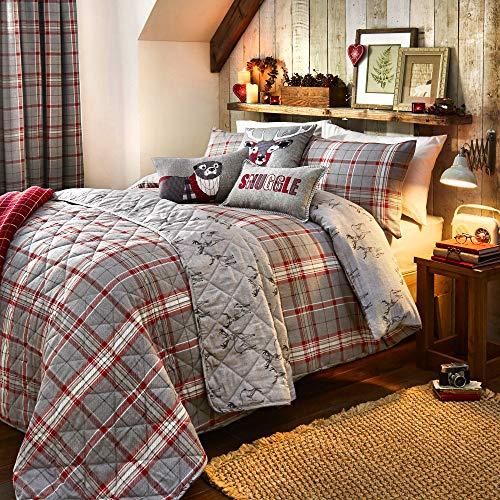 Dreams & Drapes DND 'Ludlow' 100% Cepillado algodón Tradicional Cara a Cuadros y Ciervo inversa Juego de Funda de edredón, Plateado