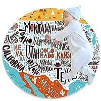 エリアラグ軽量 アメリカの写真地理ポスター フロアマットソフトカーペット直径27.6インチホームリビングダイニングルームベッドルーム