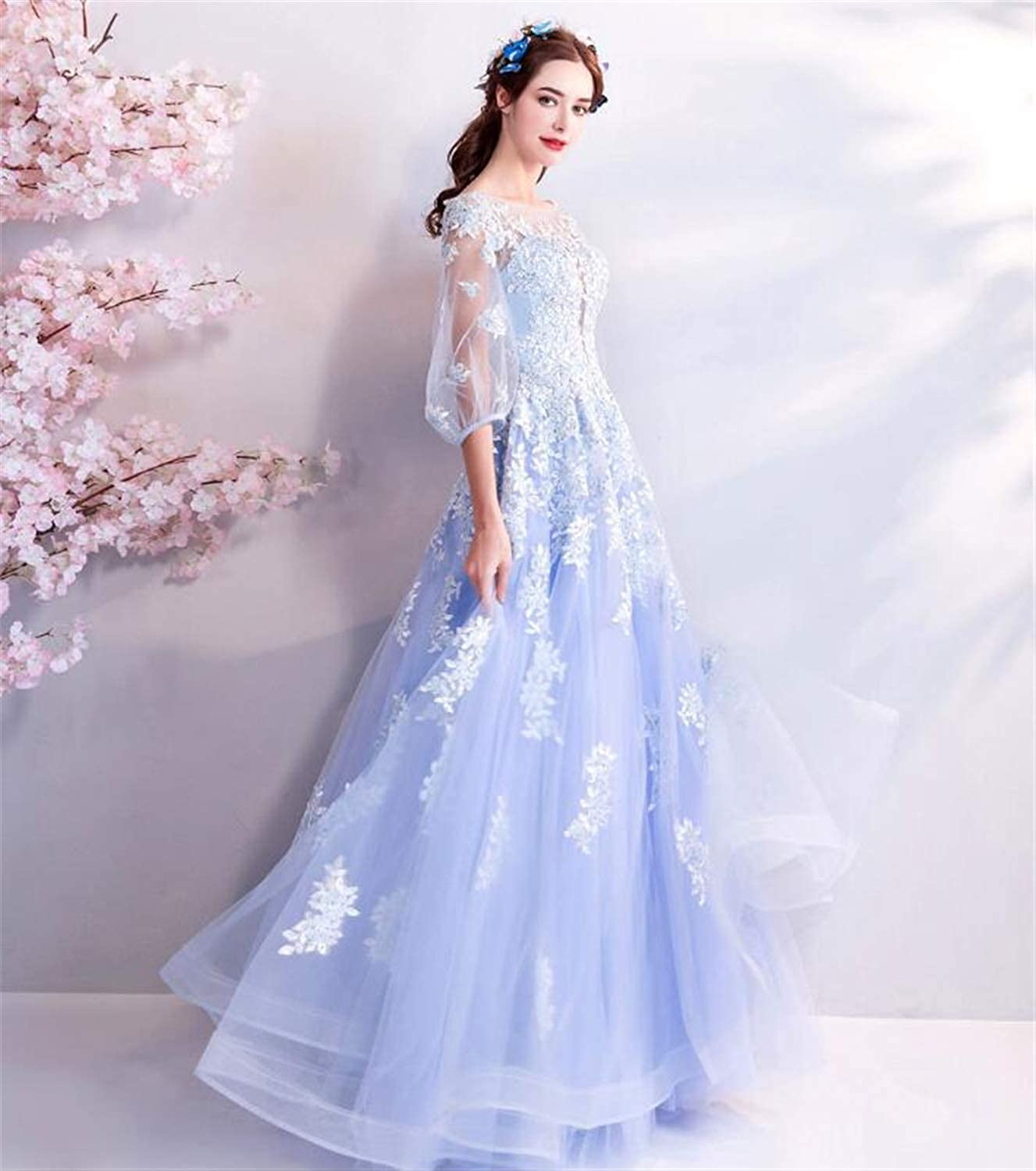 Wedding Dress,Tulle Embroidered Beads, Sexy Elegant Evening Dress, Light bluee Wedding Dress No. 07470