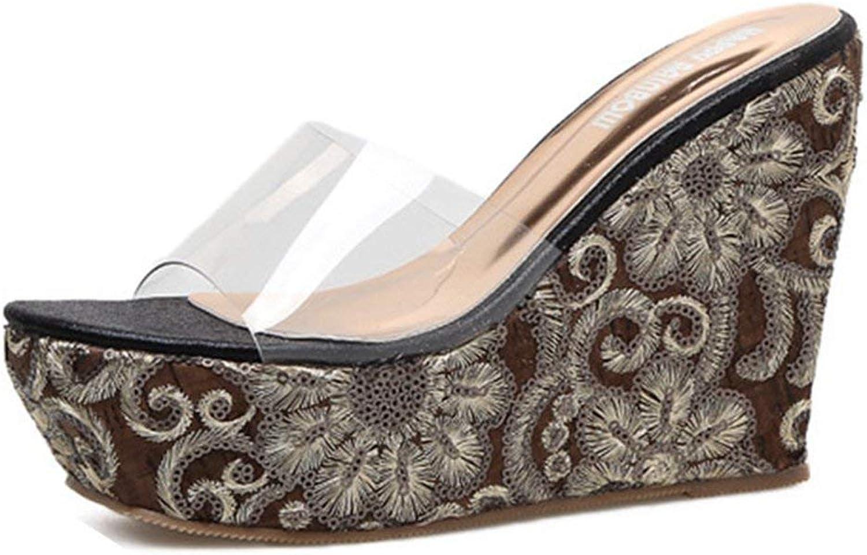 Fashion shoesbox Womens Slip-on High Paltform Sandals Casual Clear Wedge Heel Sandal shoes