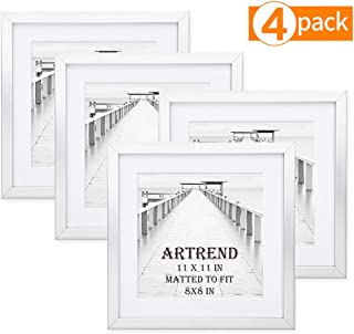 ARTrend Instagram Picture Frames 11x11 in Silver, Display 8x8 Photo with Mat or 11x11 Without Mat. Set of 4 Pack for Wall and Tabletop, Real Glass Front.