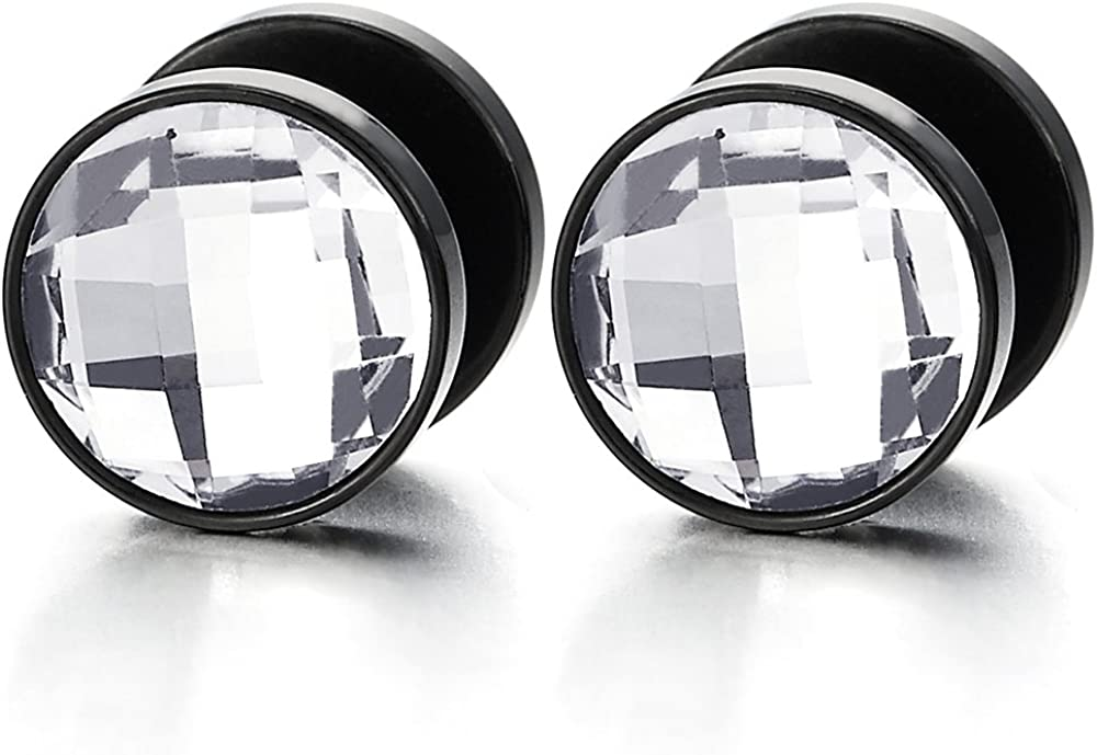 10MM Mens Women Black Circle Stud Earrings with Faceted CZ Steel Cheater Fake Ear Plug Gauges Tunnel