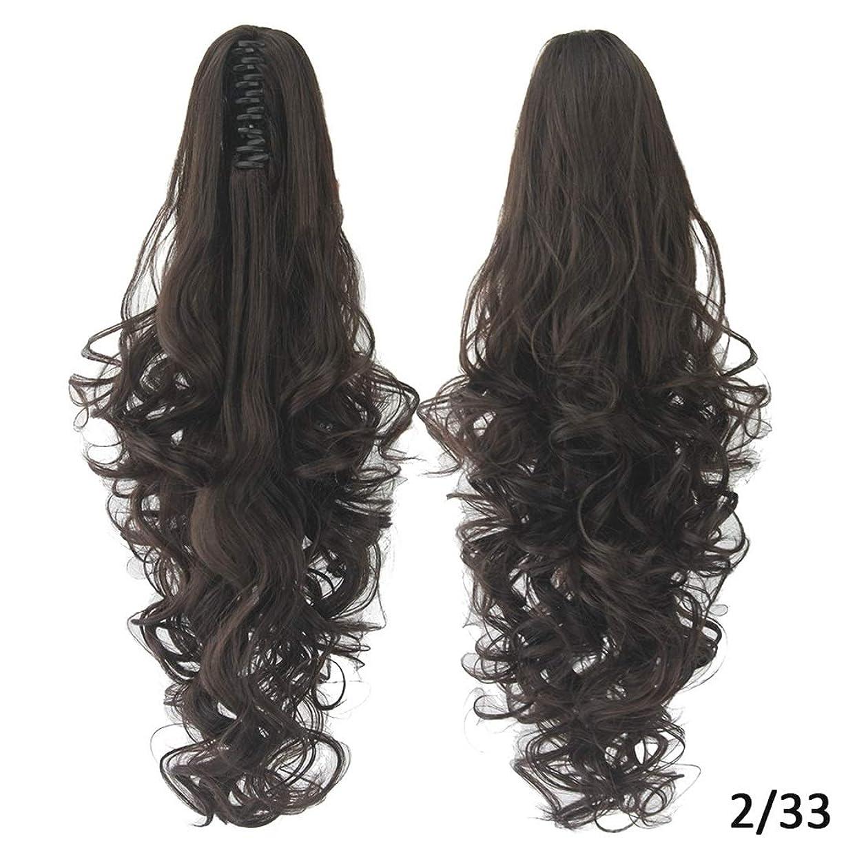 下手原告リクルートKoloeplf 女性のためのヨーロッパとアメリカのかつらの髪のエクステンション15色オプションの長いカーリーヘアポニーテールクリップ (Color : Color 2/33)
