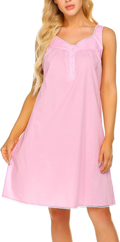 Ekouaer Women's Nightgown Sleepwear Cotton Sleeveless Sleep Dress V Neck Nightwear Loungewear