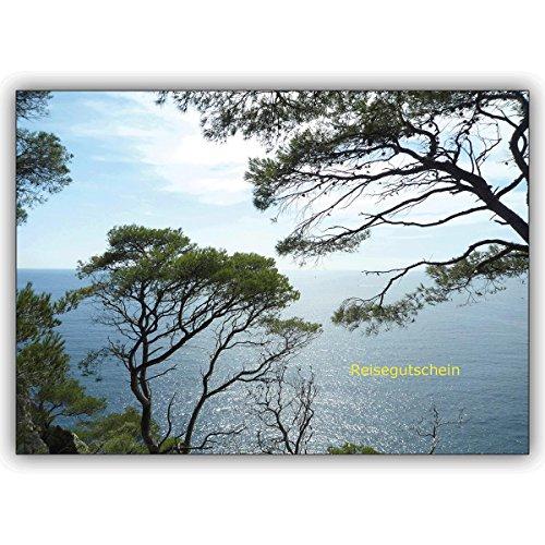 Wenskaarten met korting voor hoeveelheid: Prachtige reis voucher (blanco) met blik door grenen op de zee • edele vouwkaart met envelop als lieve groet voor u 16 Grußkarten