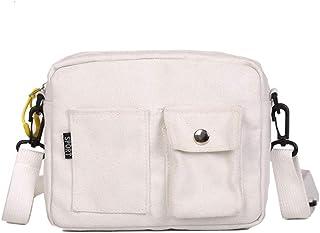 Ulisty Damen Segeltuch Klein Schultertasche Cool Quadratische Tasche Mini Handtasche Mode Beiläufig Umhängetasche Weiß