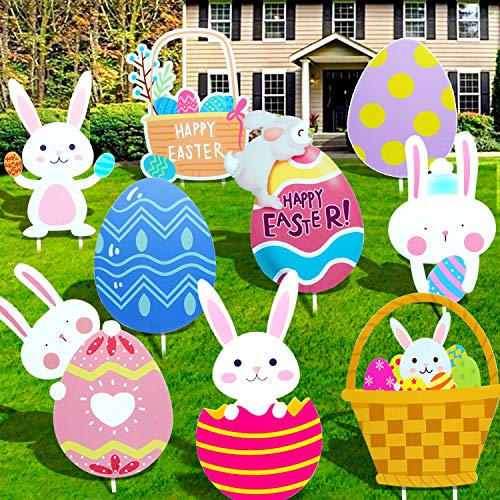 9 PCS Easter Yard Signs Outdoor Lawn Decorations Outdoor Décor Bunny Easter Baskets Eggs Easter Lawn Decorations for Easter Egg Hunt Games Easter Party Decorations Easter Props Yard Signs with Stakes
