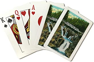 Elizabethtown, New York - View of Split Rock Falls and Bridge (Playing Card Deck - 52 Card Poker Size with Jokers)