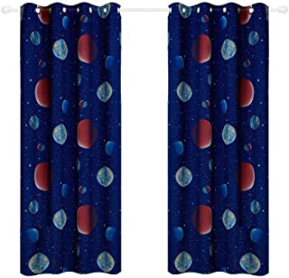 Anjee Kids Curtains for Bedroom -Cute Planet Printed Blackout Curtains with Star War Patterns, Grommet, 2 Panels (52 X 63 Inches Each Panel, Royal Blue)