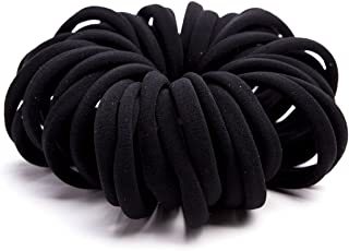 Miuance Elastic Hair Ties Hair Ties Bands Rope No Crease Elastic Fabric Large Cotton Stretch Ouchless Ponytail Holders, 50 pcs(1 PACK BLACK)