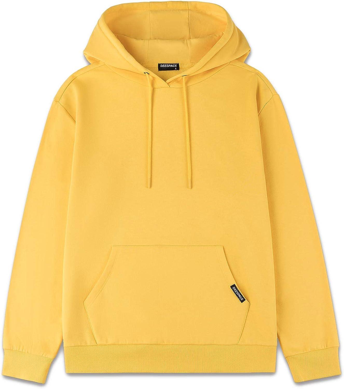 DEESPACE Men's Sweatshirts Soft Brushed Fleece Hoodie Pull on Sweatshirts Drawsting Hooded Sweatshirt (S-3XL)