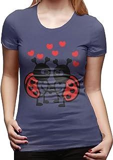Mariquitas en el Amor Camiseta de Manga Corta de Corte clásico para Mujer Camisetas de Manga Corta Camiseta con Cuello Red...