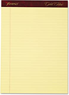 Ampad 20032 Gold Fibre Writing Pads, Legal/Wide, 8 1/2 x 11 3/4, Canary, 50 Sheets, 4/Pack