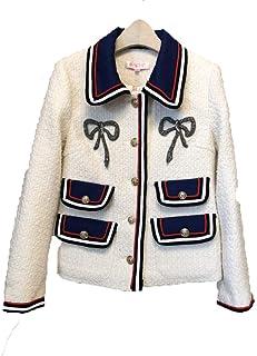 Autumn Winter Tweed Blazer Coat for Women Turn Down Collar Long Sleeve White Black Jacket Casual Outerwear