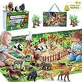 Fivejoy 22PCS Juguetes de Animales, Figura de Animales, Animales de Juguete Salvajes Figuras, Juego Educativo de Animales con Tapete de Juego de Actividades Regalos para Niños Niña 3 4 5 Años