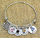 Mom Bracelet, Gift for Mom, Personalized Bracelet with kids names, Personalized Bangle Bracelet with charms. Mother's day gift, Grandma gift, 5/8th