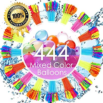 FEECHAGIER Water Balloons for Kids Girls Boys Balloons Set Party Games Quick Fill 444 Balloons 12 Bunches for Swimming Pool Outdoor Summer Fun PN2