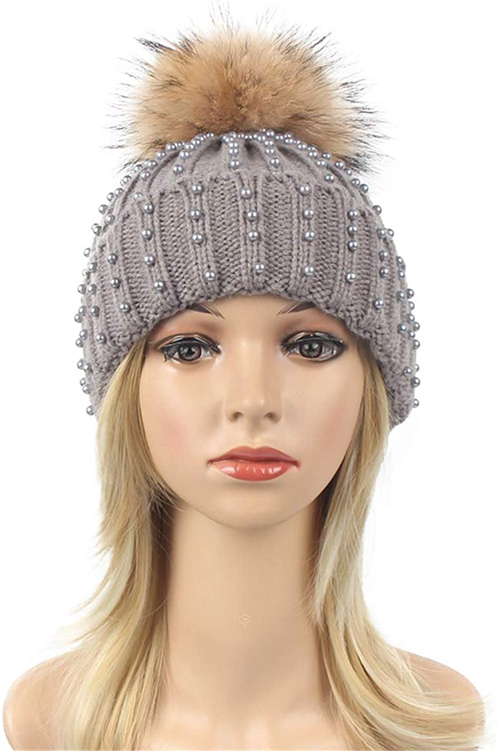 Winter Knit hat Women's Pearl Thickening Solid color Outdoor Warm with Ball Knit Hat Winter Beanie hat (color   Brown)