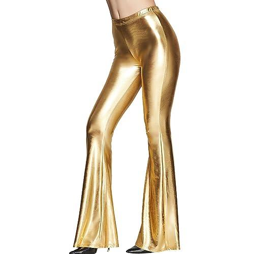 f59bacbe Tamskyt Womens Wide Leg Shiny Liquid Metallic Bell Botton Flared Palazzo  Pants