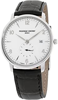 Frederique Constant Men's Slimline Stainless Steel Swiss-Quartz Watch with Leather Strap, Black, 14 (Model: FC-245SA5S6)