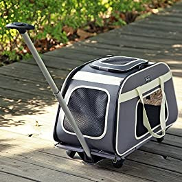 Petsfit Pet Carrier Trolley with Telescopic Handle, Portable Large Dog/Cat Carrier Travel Tote Bag with Wheels
