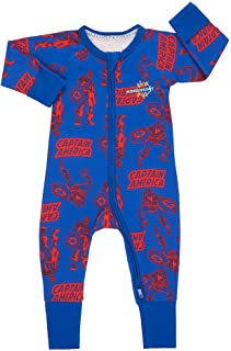 Bonds Baby Wondersuit 2 Way Zipper Sleep and Play Fold Over and Feet Cuffs (Newborn, Captain America) Blue