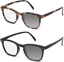OuShiun 2 Pack Blue Light Blocking Glasses Photochromic Sunglasses Computer Gaming TV Eyewear Stylish Square Frame Anti Bl...