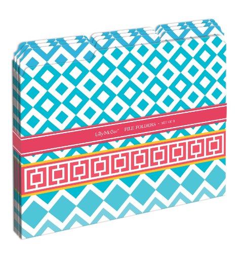Lily McGee Sky Blue Geometric Decorative File Folders (Set of 9)