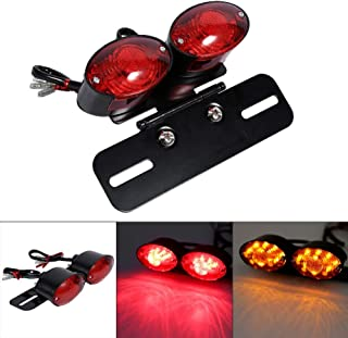 Motorcycle Tail Lights Lamp Dual Cat Eye Custom License Plate Holder Rear Motocross Brake Light Taillight Turn Signal Lights