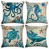 Gspirit 4 Pack Oceano Tema Acuario Algodón Lino Throw Pillow Case Funda de Almohada para Cojín 45x45 cm (D)