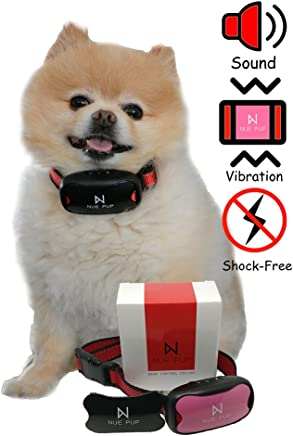 Nue Pup Upgraded Anti-Barking Device by Humane, NO SHOCK Training Device For Small, Medium & Large Breeds | 7 Adjustable Sensitivity Levels | No-Bark Collar With Sound & Vibration