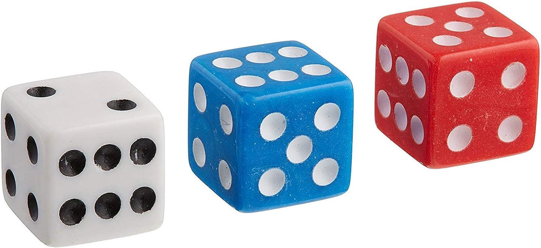 48 Dice Dispenser Game Casino Accessory Bulk Pack, Red White bluee